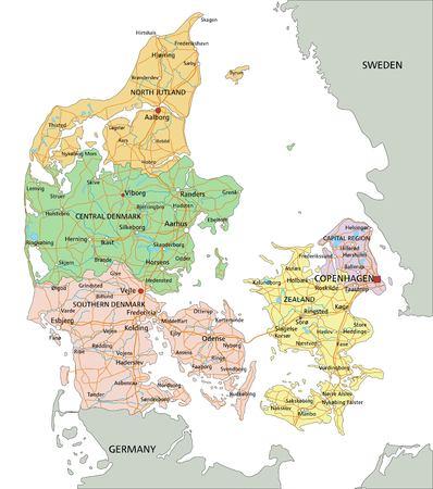Dänemark - Sehr detaillierte bearbeitbare politische Karte mit Beschriftung.