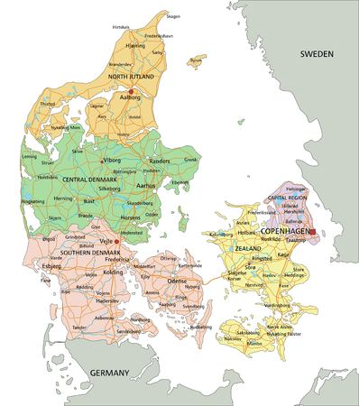 Denmark - Highly detailed editable political map with labeling.