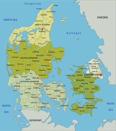 Highly detailed editable political map with separated layers. Denmark. Ilustração