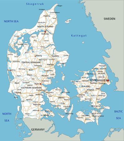 Hochdetaillierte Dänemark-Straßenkarte mit Beschriftung. Vektorgrafik
