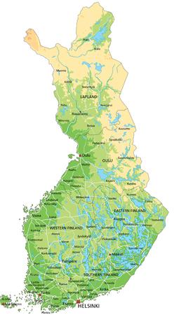 Hochdetaillierte physische Finnland-Karte mit Beschriftung. Vektorgrafik