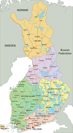 Finland - Highly detailed editable political map with labeling.