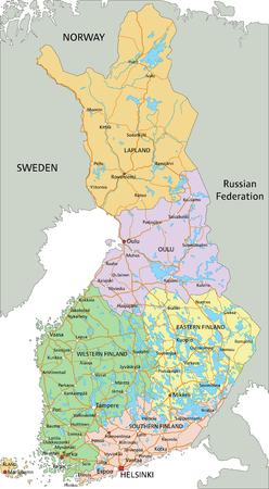 Finnland - Sehr detaillierte bearbeitbare politische Karte mit Beschriftung.