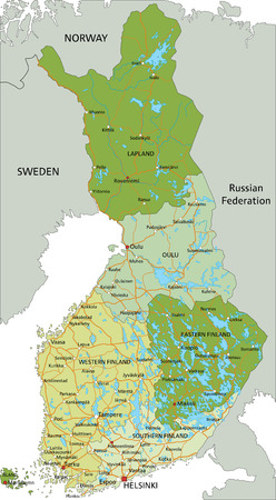 Highly detailed editable political map with separated layers. Finland. Stock Illustratie