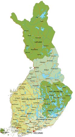 Highly detailed editable political map with separated layers. Finland. Ilustração
