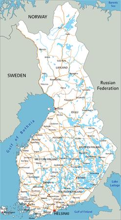 Hochdetaillierte Finnland-Straßenkarte mit Beschriftung.