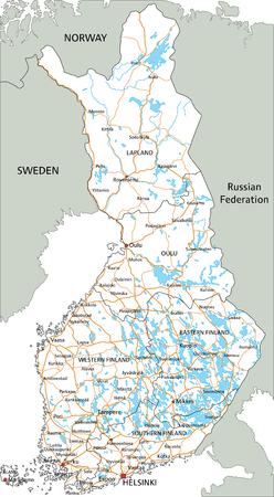 Hochdetaillierte Finnland-Straßenkarte mit Beschriftung. Vektorgrafik