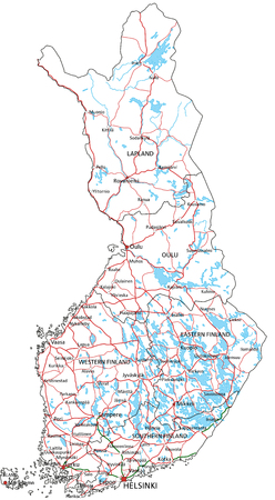 Finland road and highway map. Vector illustration.