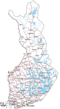 Finnland-Straßen- und Autobahnkarte. Vektor-Illustration.
