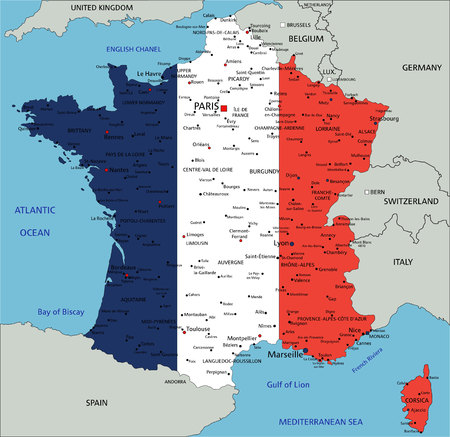 France highly detailed political map with national flag. Vector Illustration