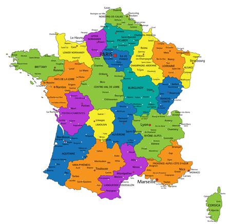 Mappa politica della Francia colorata con livelli separati chiaramente etichettati. Illustrazione vettoriale. Vettoriali