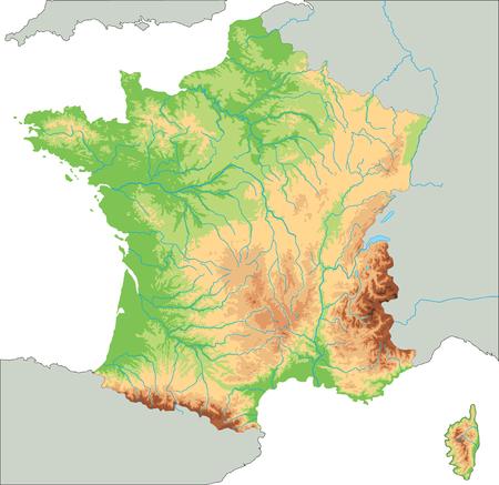 Carte physique de la France très détaillée.