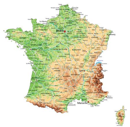 High detailed France physical map with labeling. Vektoros illusztráció