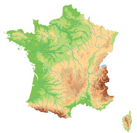Hochdetaillierte physische Karte von Frankreich.
