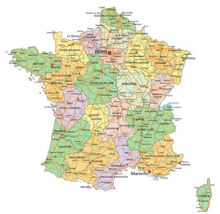 Francia: mapa político editable muy detallado con etiquetado.