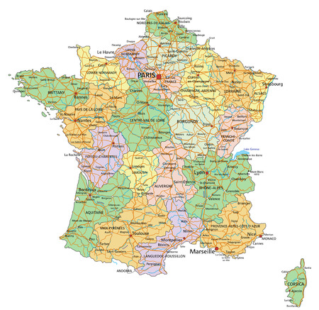 Frankrijk - Zeer gedetailleerde bewerkbare politieke kaart met etikettering.