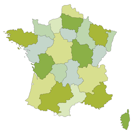 Highly detailed editable political map with separated layers. France.