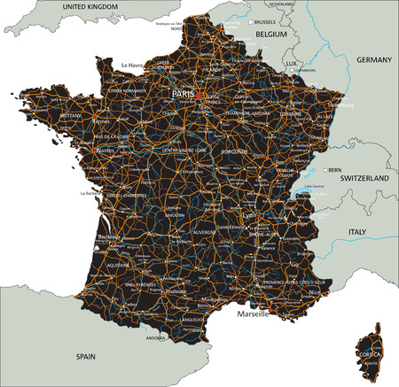 High detailed France road map with labeling.