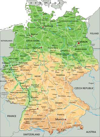 Hochdetaillierte physische Deutschlandkarte mit Beschriftung.