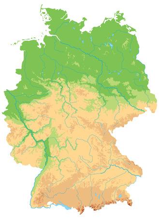 Hochdetaillierte physische Deutschlandkarte.