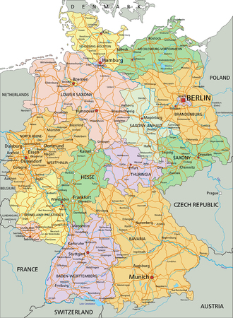 Germany - Highly detailed editable political map with separated layers. Иллюстрация