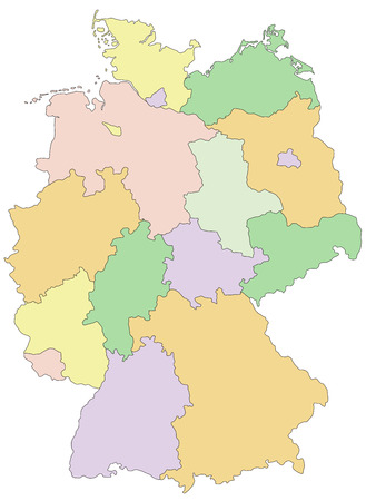 Germany - Highly detailed editable political map with separated layers. 向量圖像