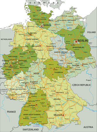 Germany - Highly detailed editable political map with separated layers. 일러스트