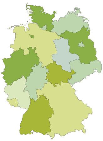 Deutschland - Sehr detaillierte bearbeitbare politische Karte mit getrennten Ebenen. Vektorgrafik