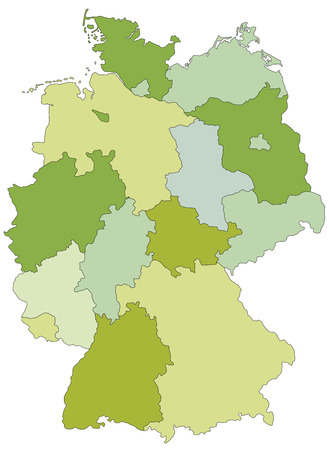 Germany - Highly detailed editable political map with separated layers. Vettoriali