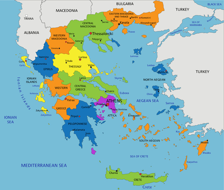 Colorido mapa político de Grecia con capas separadas y claramente etiquetadas. Ilustración de vector. Ilustración de vector