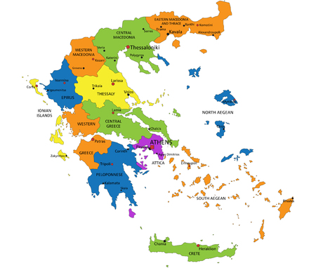 Colorful Greece political map with clearly labeled, separated layers. Vector illustration.