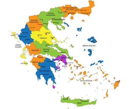 Kleurrijke politieke kaart van Griekenland met duidelijk gelabelde, gescheiden lagen. Vector illustratie.