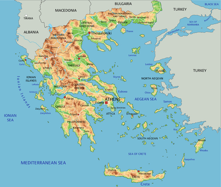 High detailed Greece physical map with labeling.