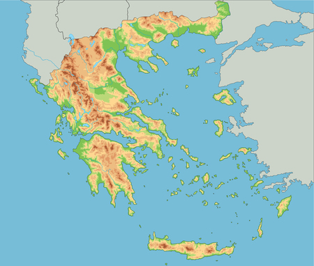 High detailed Greece physical map. Illustration