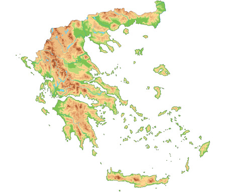 High detailed Greece physical map.