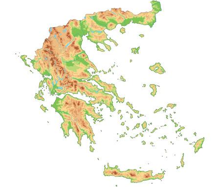 Hochdetaillierte physische Karte von Griechenland.