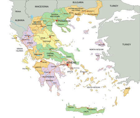 Greece - Highly detailed editable political map with labeling.