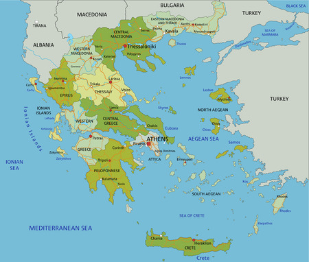 Highly detailed editable political map with separated layers. Greece.