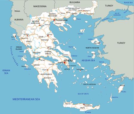 Hoja de ruta de Grecia detallada alta con etiquetado. Ilustración de vector
