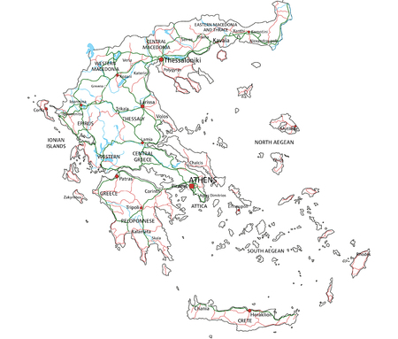 Greece road and highway map. Vector illustration.  イラスト・ベクター素材