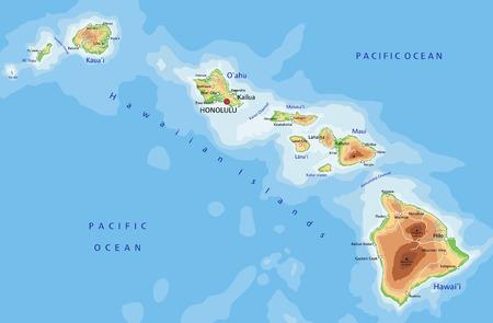 Alto mapa físico detallado de Hawaii con etiquetado.