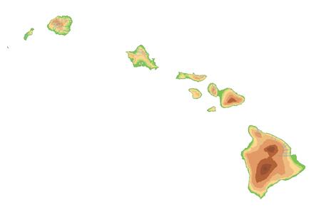 High detailed Hawaii physical map.