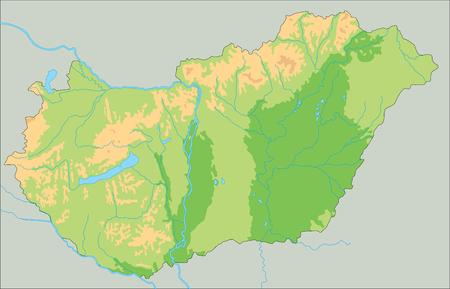 Hochdetaillierte physische Karte von Ungarn. Vektorgrafik
