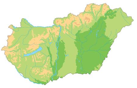 High detailed Hungary physical map. Ilustração