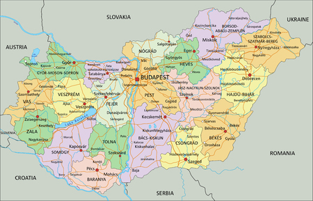 Hungary - Highly detailed editable political map with labeling.