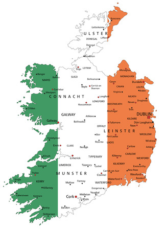 Ireland highly detailed political map with national flag isolated on white background.