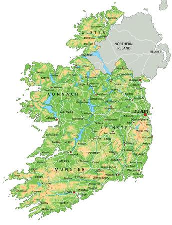 Hochdetaillierte physische Karte von Irland mit Beschriftung. Vektorgrafik