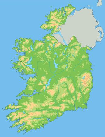 Hochdetaillierte physische Karte von Irland mit Beschriftung.