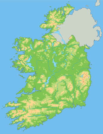 High detailed Ireland physical map with labeling.