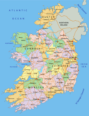 Ireland - Highly detailed editable political map with labeling.